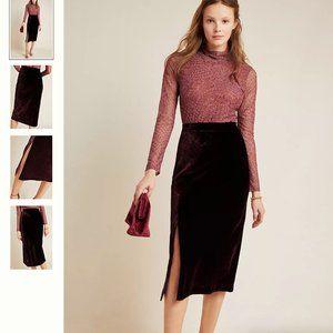 NWT Anthropologie Velvet Midi Skirt